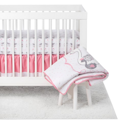 Trend Lab 3pc Crib Bedding Set Swans, Light Pink Crib Bedding Set