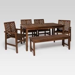 6pc Chevron Outdoor Patio Dining Set Dark Brown - Saracina Home