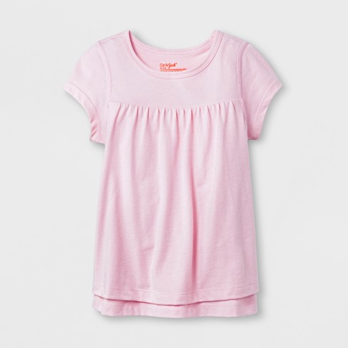 Toddler Girls' Adaptive Short Sleeve Knit Top - Cat & Jack™ Pink - image 1 of 1