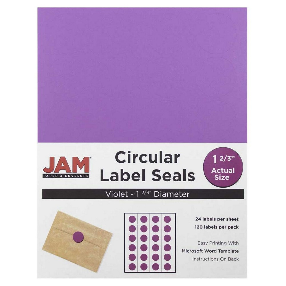 Jam Paper Circle Sticker Seals 1 2/3 120ct - Purple Jam Paper Round Circle Label Sticker Seals measure 1 2/3 inches in diameter and are sold on sheets of 24 labels. Each pack contains 5 sheets for a total of 120 labels per pack! These labels feature a light, soft, and inviting baby blue color that will give a peaceful and calm look to your mail. These labels are great for reinforcing envelopes, creating small price tags for yard sales, marking mail or items with initials, and more! Compatible with most printers, these labels can be customized in your own office or home. Additionally, they are easy to write on with most kinds of pens and markers. Try these round labels for your home or office needs. Color: Purple. Age Group: Adult.