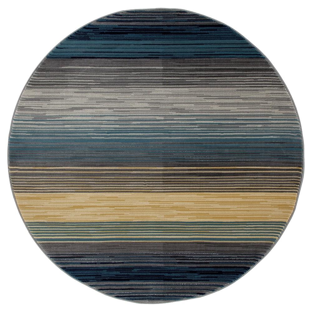 Image of Blue Stripe Woven Round Area Rug - (5') - Art Carpet, Size: 5' ROUND