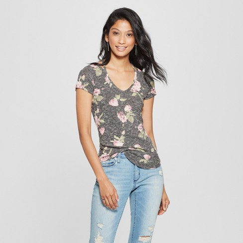Women's Floral Print Short Sleeve Cutout Detail Marled Slub T-Shirt - Almost Famous (Juniors') Black - image 1 of 2