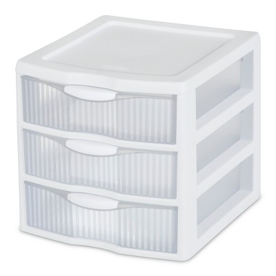 Sterilite 3 Drawer Small Countertop Unit White with Clear Drawers
