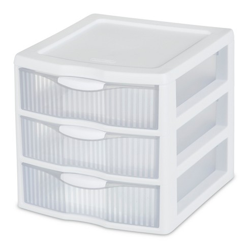 Sterilite 3 Drawer Small Countertop Unit with Drawers Clear/White - image 1 of 3
