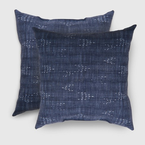 2pk Square Staccato Outdoor Pillows Navy - Threshold™ - image 1 of 1