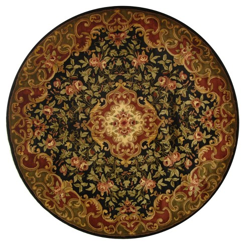 Black Green Abstract Tufted Round Area Rug 8 Target