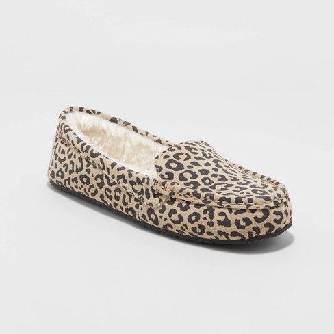 Women's Gemma Leopard Genuine Suede Moccasin Slipper - Stars Above™ Brown - image 1 of 4