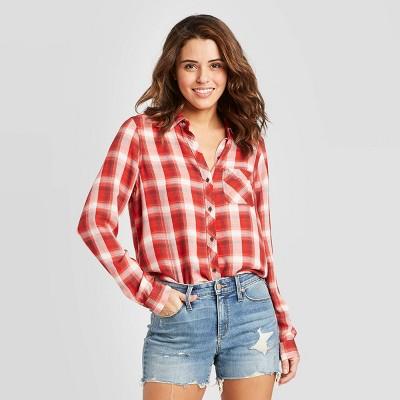 Women's Plaid Long Sleeve Button-Down Shirt - Universal Thread™ Red M