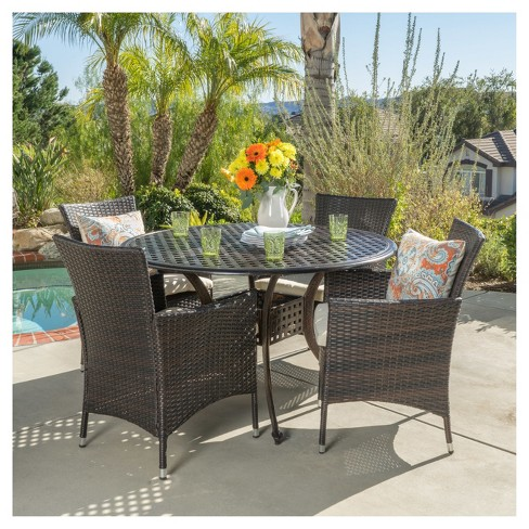 Amazing Elk 5Pc Round Metal Patio Dining Set W All Weather Wicker Chairs Shiny Copper Brown Christopher Knight Home Download Free Architecture Designs Photstoregrimeyleaguecom