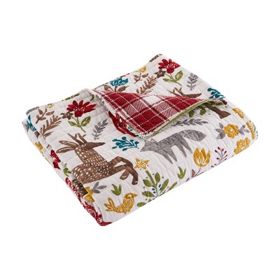 Folk Deer Holiday Quilted Throw Multi-Color - Levtex Home