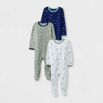 Baby Boys' 3pk Sleep N' Play Set Cloud Island™ - Navy/Gray 0-3M