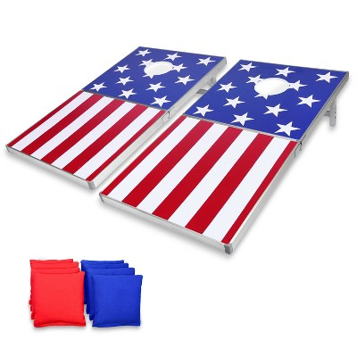 GoSports Regulation Size Solid Wood Cornhole PRO Set with 2 4 Foot x 2 Foot Boards, 8 Bean Bags, Carrying Case, and Game Rules, American Flag