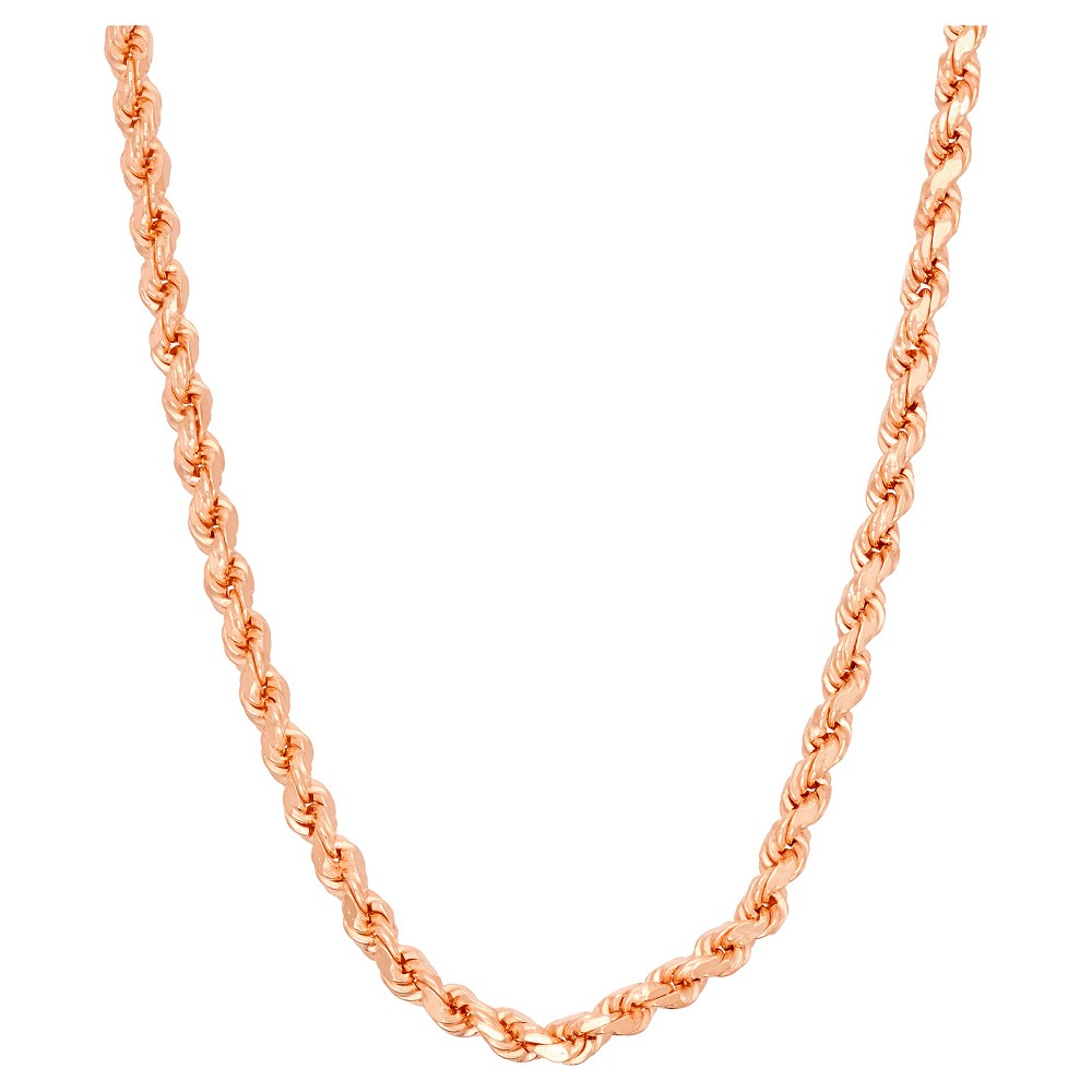 Tiara Rose Gold Over Silver 30 Rope Chain Necklace, Size: 30 inch, Pink
