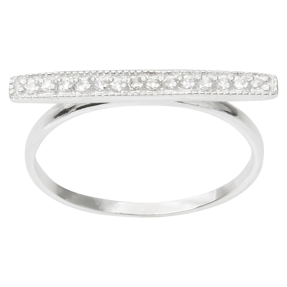 1/6 CT. T.W. Round Cut CZ Pave Set Bar Ring in Sterling Silver - Silver (8)