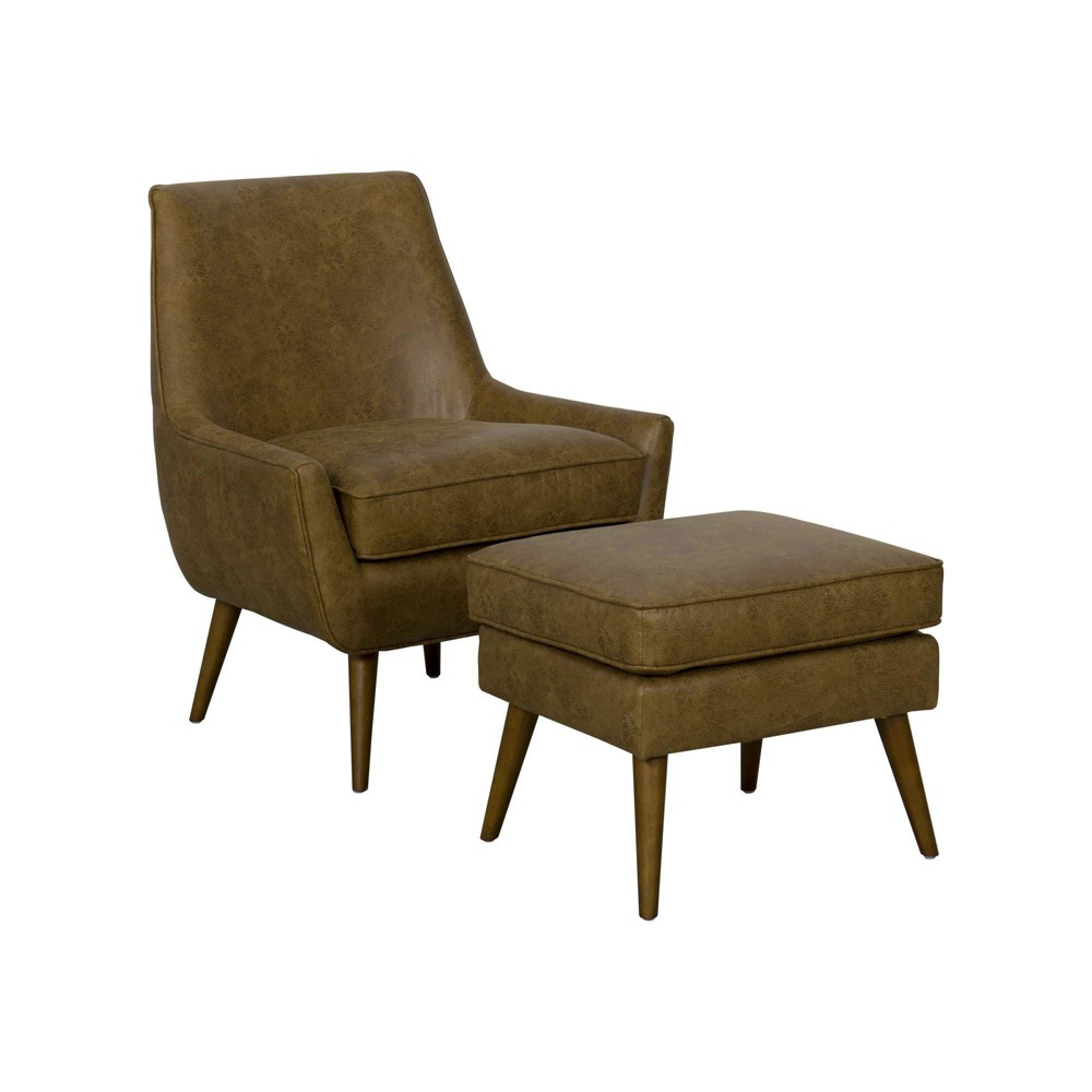 Dean Modern Accent Chair with Ottoman Distressed Faux Leather Brown - HomePop was $389.99 now $292.49 (25.0% off)