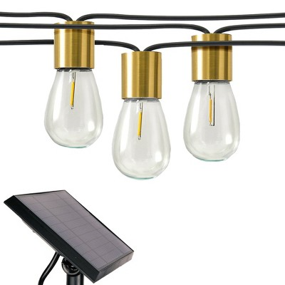 Brightech Glow Solar Powered LED 12 Bulb Waterproof Outdoor String Lights with Brass Sockets for Outside, Patio, and Balcony, 28 Ft