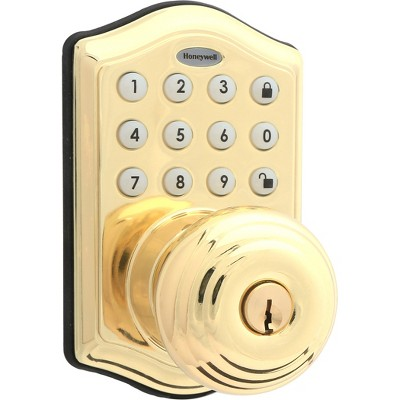 Honeywell Electronic Entry Knob Door Lock- Polished Brass