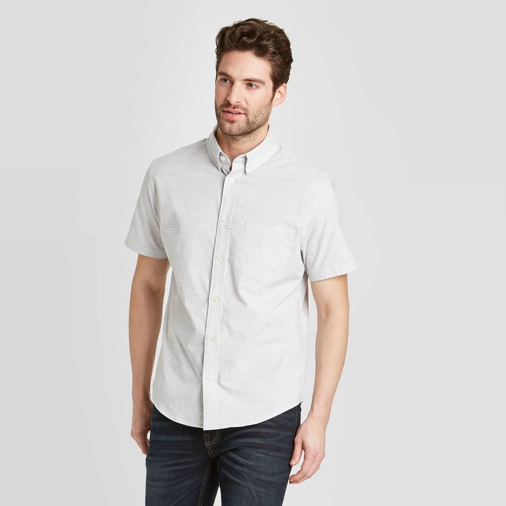 Men's Standard Fit Short Sleeve Button-Down Shirt - Goodfellow & Co Gray 2XL was $19.99 now $12.0 (40.0% off)