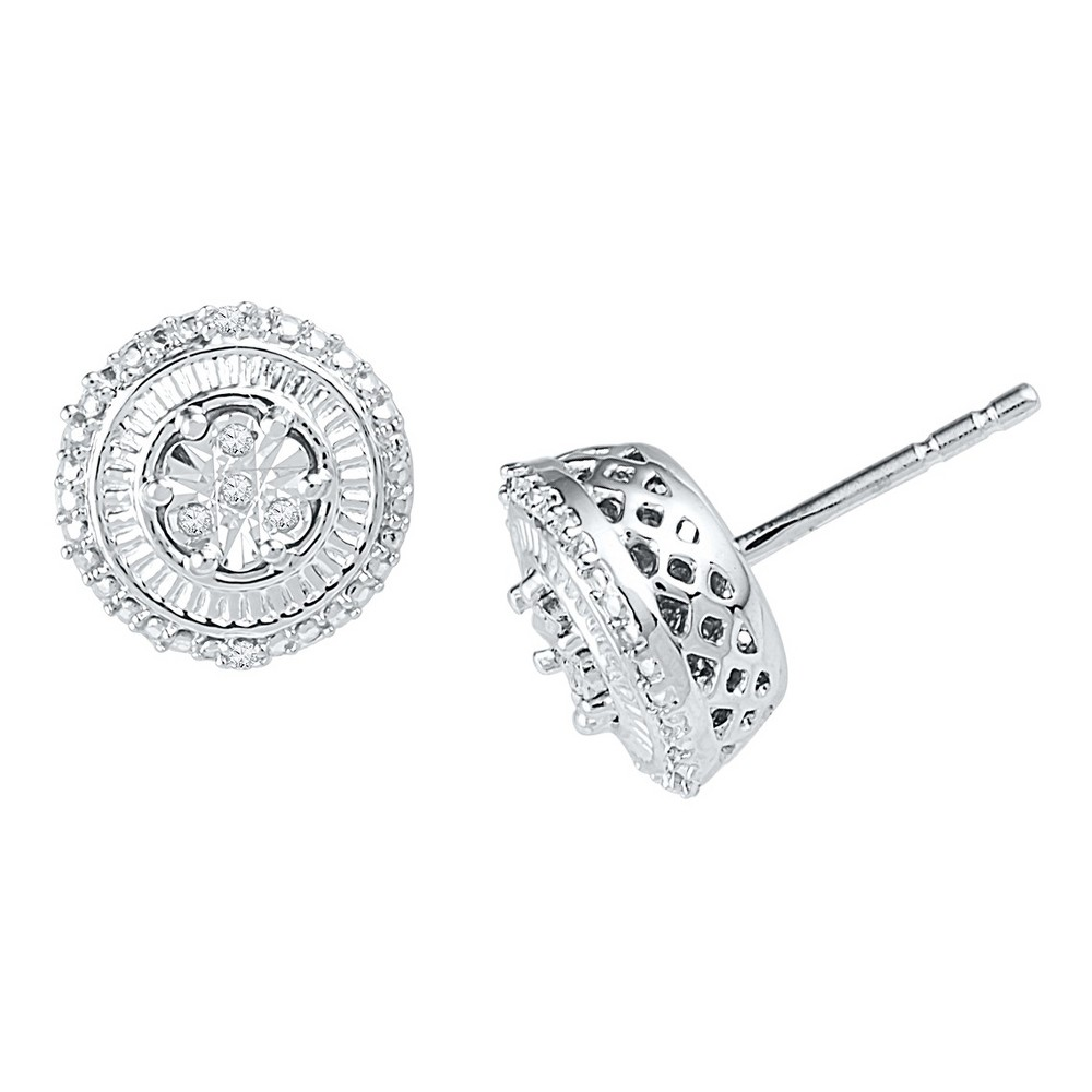 Image of 0.040 CT. T.W. Round-Cut Diamond Stud Prong and Miracle Set Earring in Sterling Silver (IJ-I2-I3), Women's, White