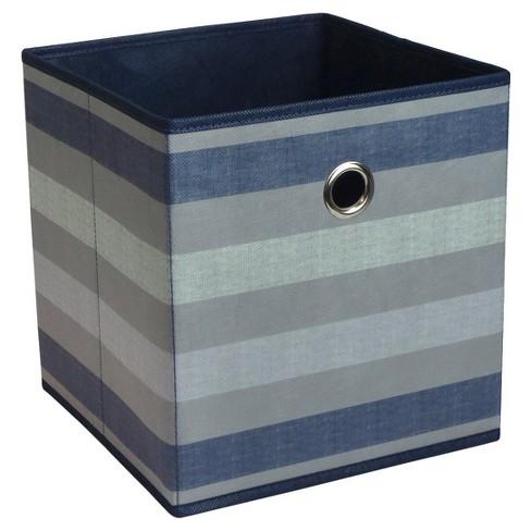 "11"" Fabric Cube Storage Bin Navy Stripe - Room Essentials™ - image 1 of 2"