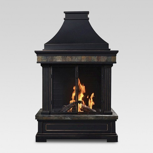 Outdoor 56 Tall Wood Burning Slate Fireplace Bond Target