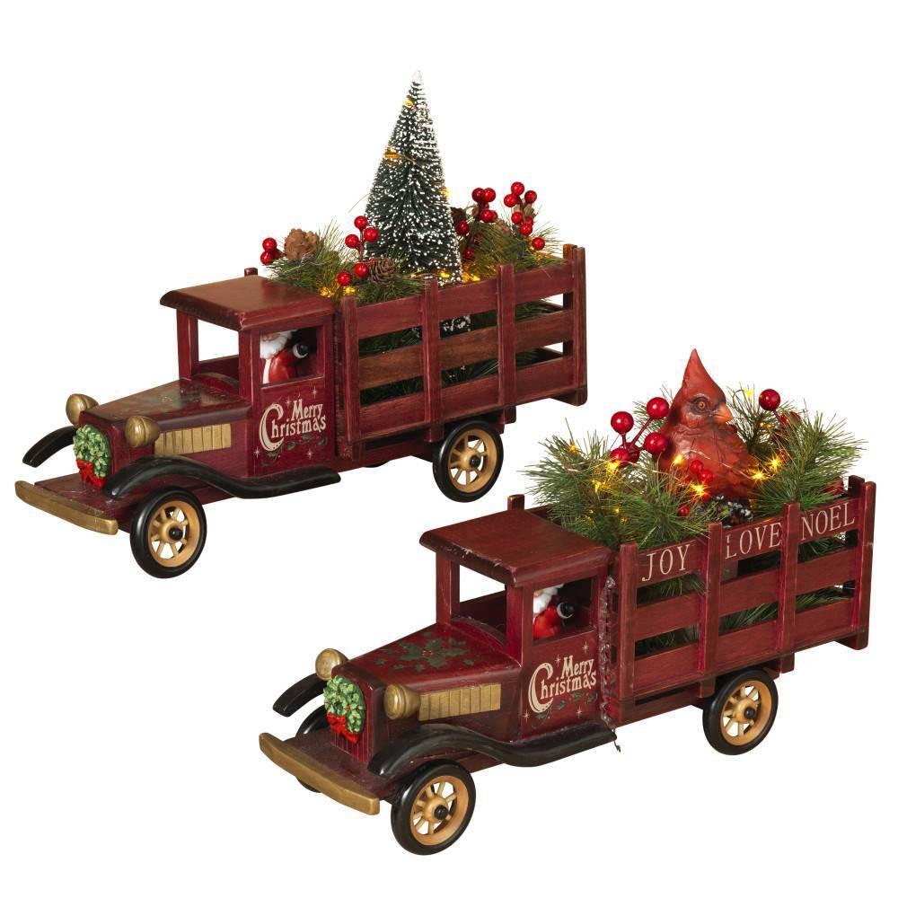 "Image of ""14.5""""/2ct Wood Trucks Decorative Figurine Set - Gerson International, Red Multicolored"""