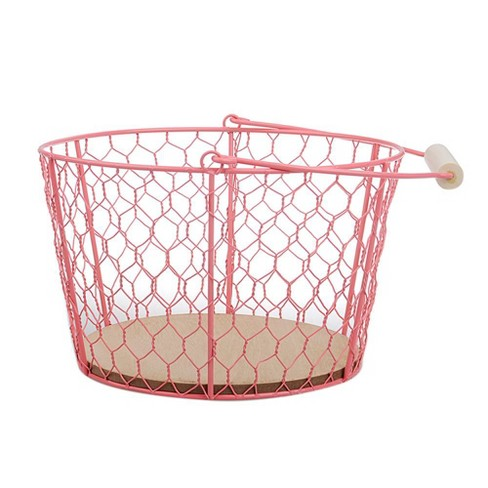 Wood And Wire Storage Container | Wire And Wood Decorative Baskets Pink Spritz Target