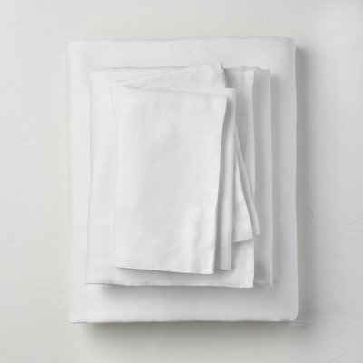 King 100% Washed Linen Solid Sheet Set White - Casaluna™