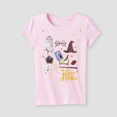 Girls' Harry Potter Icons Short Sleeve Shirt - Pink