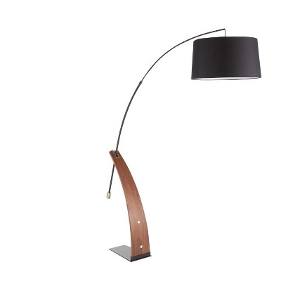 Walnut Wood Robyn Mid-Century Floor Lamp with Linen Shade Black (Includes LED Light Bulb) - LumiSource