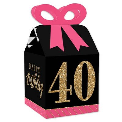 Big Dot of Happiness Chic 40th Birthday - Pink, Black and Gold - Square Favor Gift Boxes - Birthday Party Bow Boxes - Set of 12