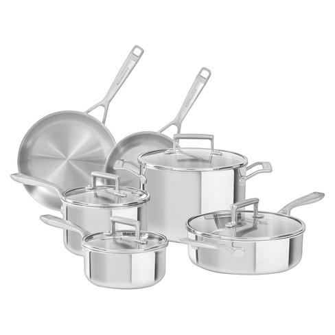 KitchenAid   10 Piece Tri-Ply Stainless Steel Cookware Set - KC2TS10 - image 1 of 1