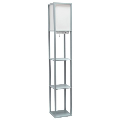 Floor Lamp Etagere Organizer Storage Shelf with 2 USB Charging Ports and Linen Shade - Simple Designs