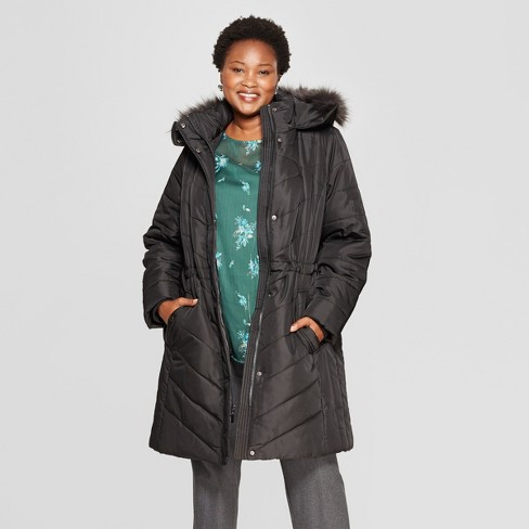 Women's Plus Size Quilted Puffer Jacket - Ava & Viv™ Black X - image 1 of 2