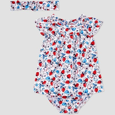 Baby Girls' Floral Jumpsuit Set with Headband - Just One You® made by carter's Blue/Red 12M