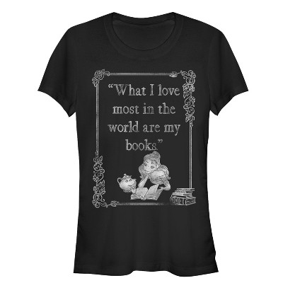 Junior's Beauty and the Beast Belle Loves Books T-Shirt