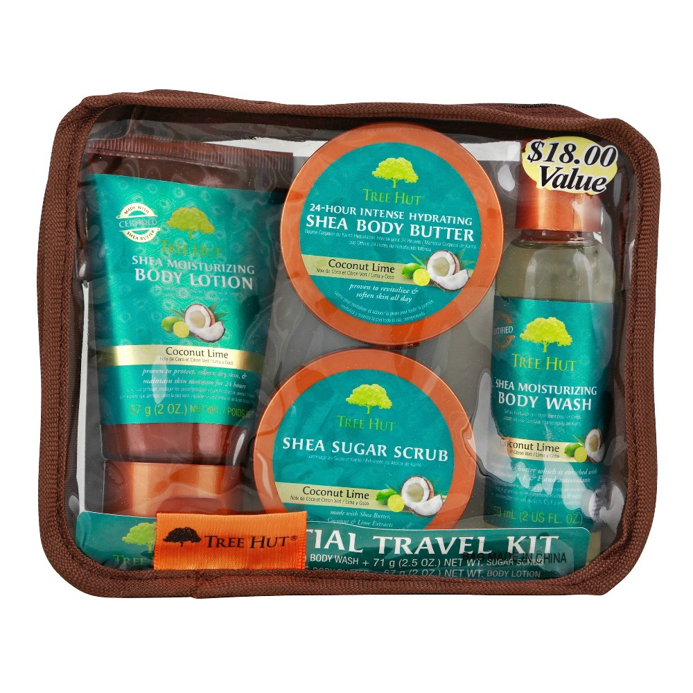 Image of Tree Hut Essential Travel Kit Coconut Lime - 4pc