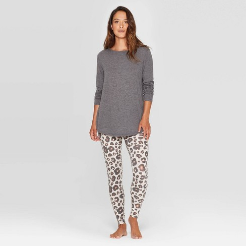 Women's Leopard Print Cozy Pajama Set - Stars Above™ Oatmeal - image 1 of 2