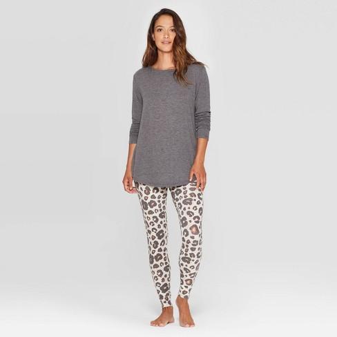 Women's Leopard Print Cozy Pajama Set - Stars Above™ Oatmeal M - image 1 of 2