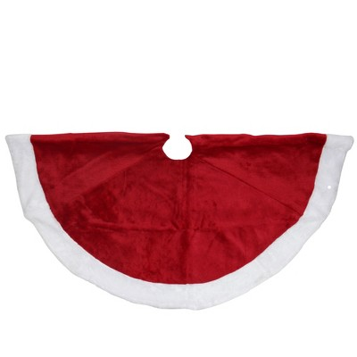 "Northlight 48"" Red and White Velveteen Christmas Tree Skirt with White Trim"