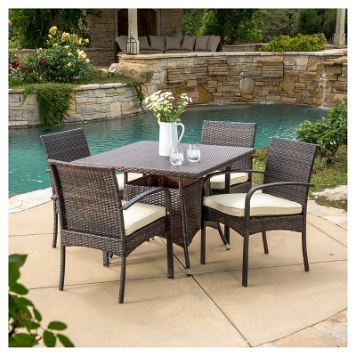 Patterson 5pc Wicker Patio Dining Set - Brown - Christopher Knight Home