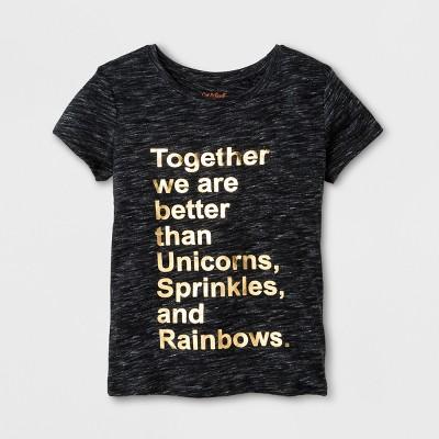 Girls' Short Sleeve Better than Unicorns Graphic T-Shirt- Cat & Jack™ Black M