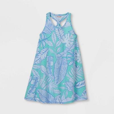 Girls' Printed Sleeveless Knit Dress - Cat & Jack™ Turquoise