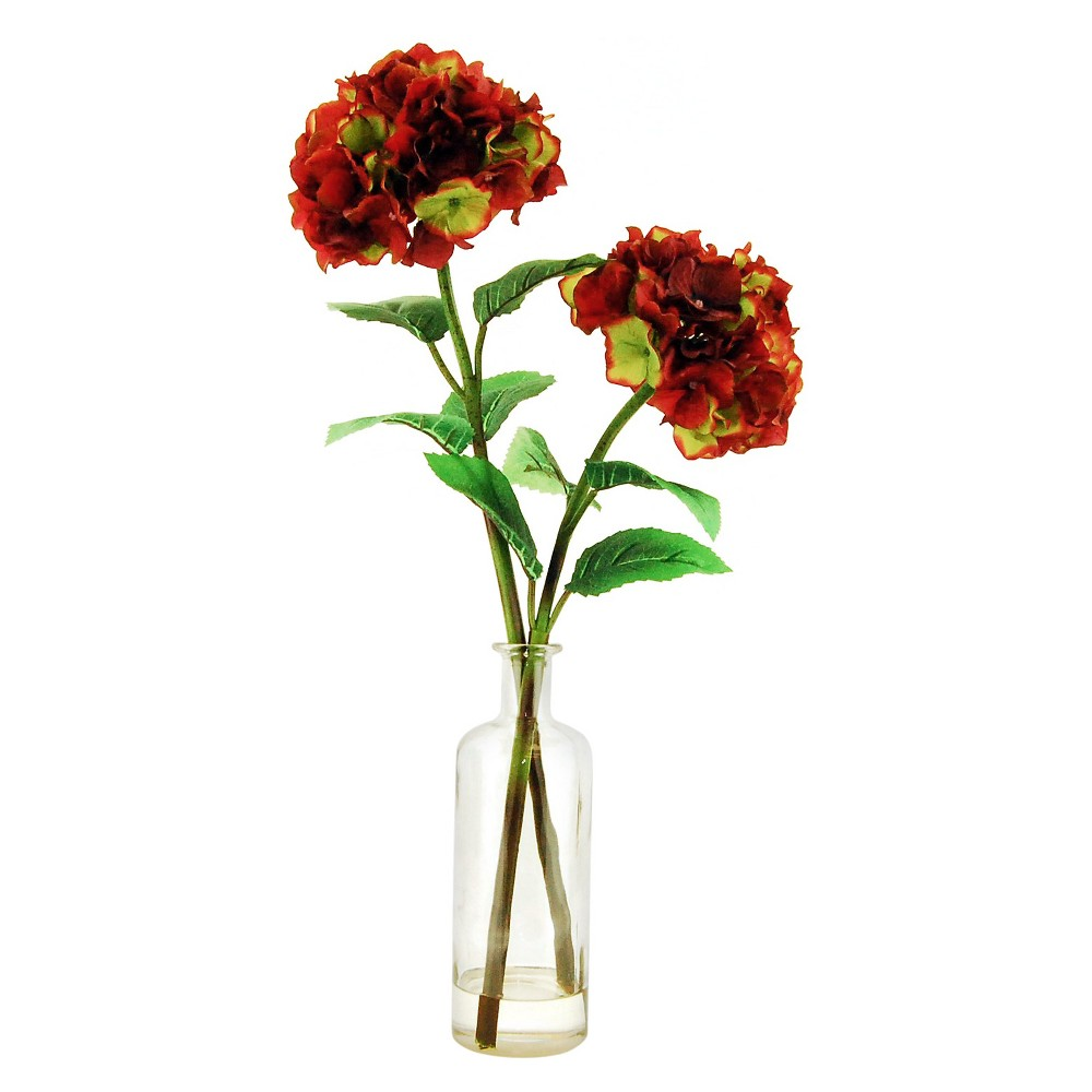 Artificial Hydrangea Arrangement Maroon 27 - Lcg Florals, Red