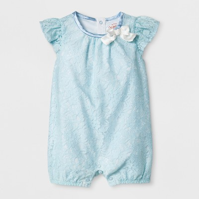 Baby Girls' Lace Romper - Cat & Jack™ Feather Aqua Baby