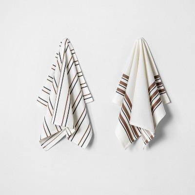 2ct Kitchen Towel Set Pumpkin Brown/Railroad Gray - Hearth & Hand™ with Magnolia