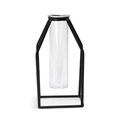 DEMDACO Small Black Geometric Vase 8 x 4 - Black