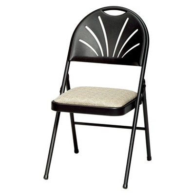 Set of 4 Sudden Comfort Plastic High Back Folding Chair Black Lace - Meca