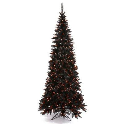 Vickerman Black Fir with Orange Lights Artificial Christmas Tree