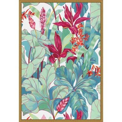 """16"""" x 23"""" Tropical Flowers I by N.H. Egan Framed Canvas Wall Art - Amanti Art"""